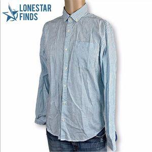 Penguin Blue Checkered Slim Fit Dress Shirt Sz M